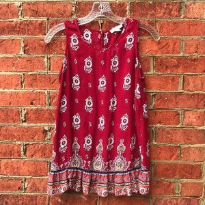 BLL New York Red Floral Ruffle Sleeveless Blouse